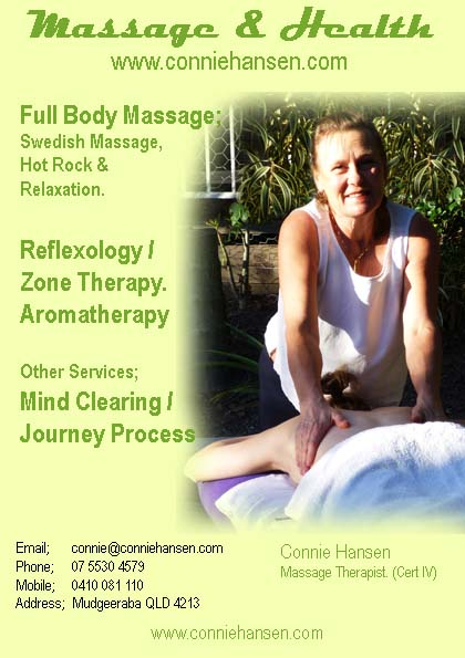 Connies health, Swedish massage.